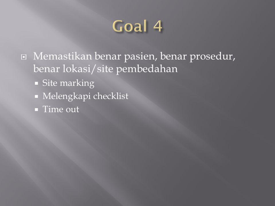  Memastikan benar pasien, benar prosedur, benar lokasi/site pembedahan  Site marking  Melengkapi checklist  Time out