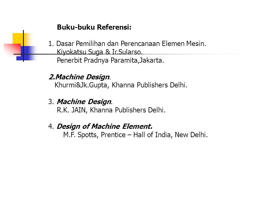 Buku-buku Referensi: 1. Dasar Pemilihan dan Perencanaan Elemen Mesin. Kiyokatsu Suga & Ir.Sularso. Penerbit Pradnya Paramita,Jakarta. 2.Machine Design
