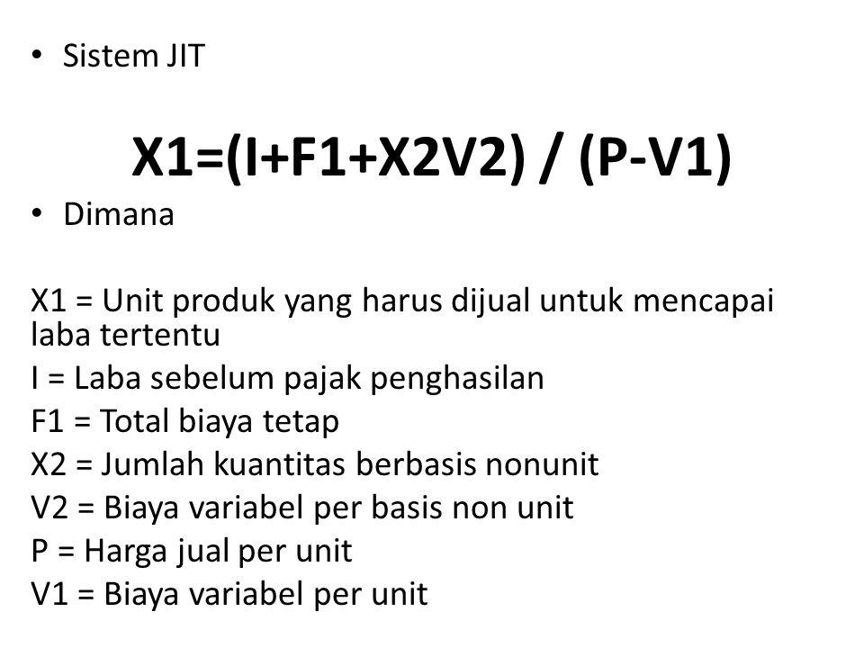 Sistem JIT X1=(I+F1+X2V2) / (P-V1) Dimana X1 = Unit produk yang harus dijual untuk mencapai laba tertentu I = Laba sebelum pajak penghasilan F1 = Tota