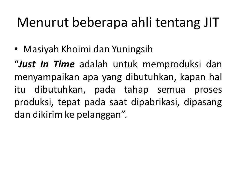 """Menurut beberapa ahli tentang JIT Masiyah Khoimi dan Yuningsih """"Just In Time adalah untuk memproduksi dan menyampaikan apa yang dibutuhkan, kapan hal"""