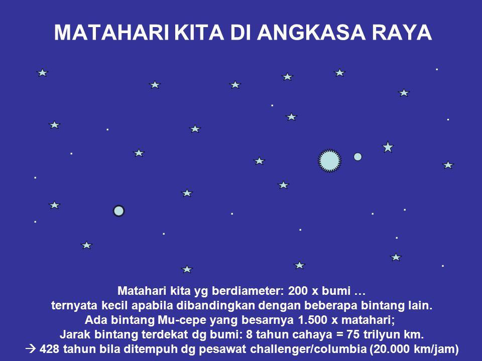 MATAHARI KITA DI ANGKASA RAYA.............. Matahari kita yg berdiameter: 200 x bumi … ternyata kecil apabila dibandingkan dengan beberapa bintang lai