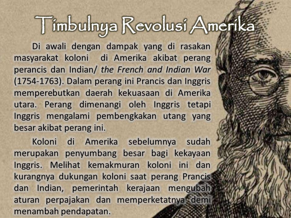 Kondisi ekonomi sebelum Revolusi Amerika ialah pada saat itu aturan pajak, bea cukai, impor dan ekspor dan produk-produk sandang dan pangan di kuasai oleh Inggris.
