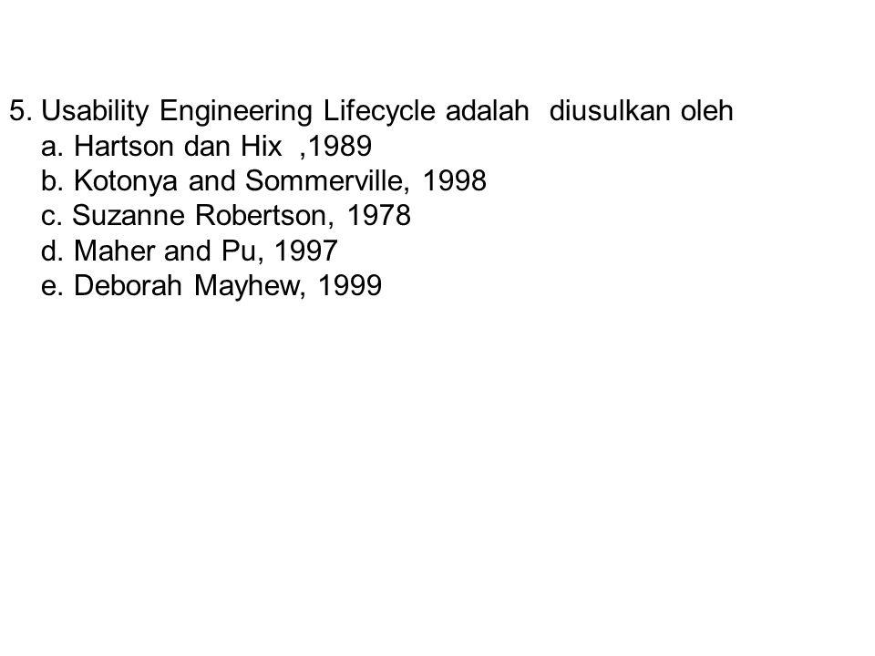 5. Usability Engineering Lifecycle adalah diusulkan oleh a. Hartson dan Hix,1989 b. Kotonya and Sommerville, 1998 c. Suzanne Robertson, 1978 d. Maher