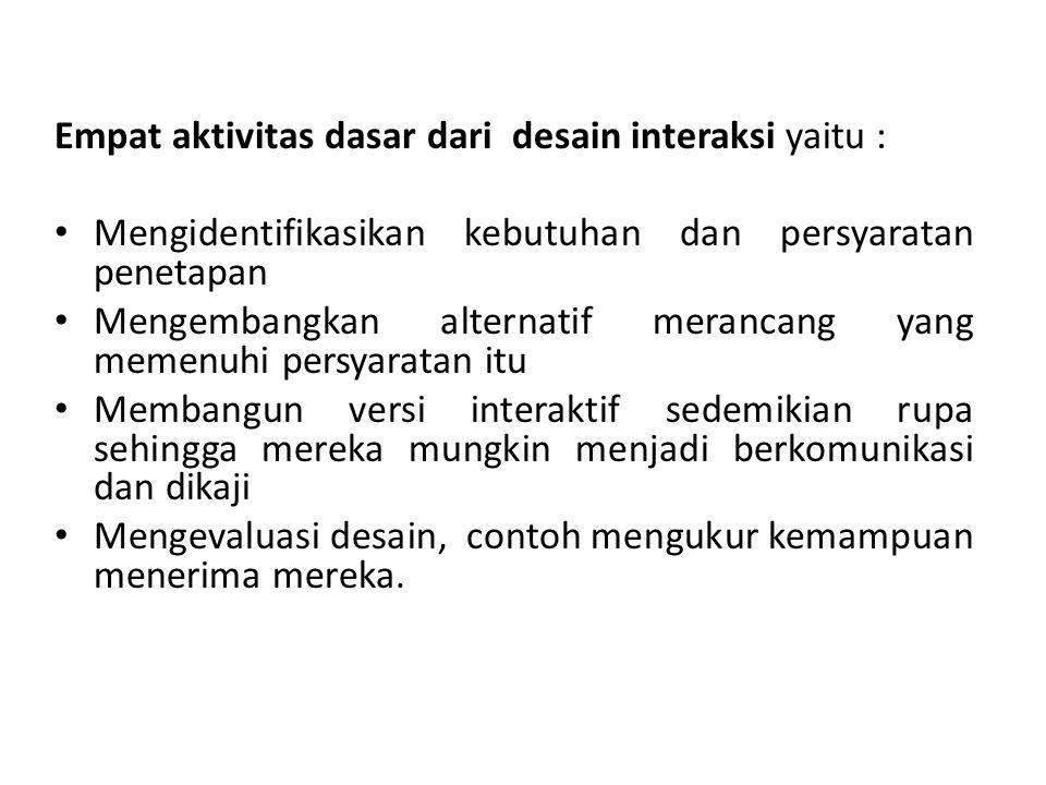 Soal : 1.Di bawah ini yang bukan merupakan aktivitas dasar dari interaction design adalah a.