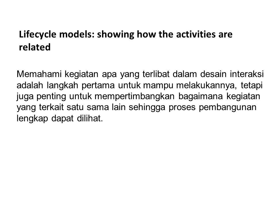 Lifecycle models: showing how the activities are related Model Rancangan Interaksi Sederhana - Satu titikan masukan - Rancangan menghasilkan prototipe yang interaktif yang dapat dievaluasi - Evaluasi dapat dilakukan dimana saja - Evaluasi harus dikaitkan dengan hasil akhir