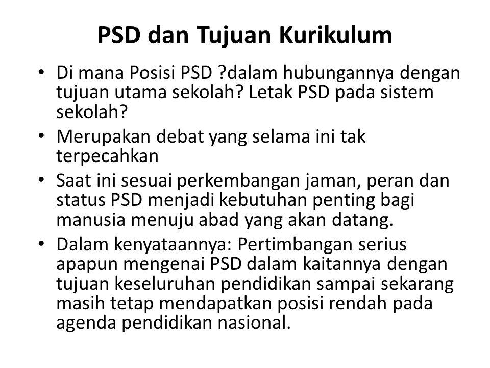 PSD dan Tujuan Kurikulum Di mana Posisi PSD ?dalam hubungannya dengan tujuan utama sekolah? Letak PSD pada sistem sekolah? Merupakan debat yang selama
