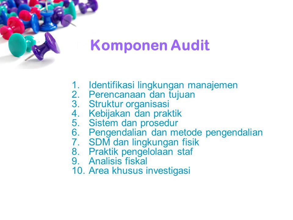 1.Identifikasi lingkungan manajemen 2.Perencanaan dan tujuan 3.Struktur organisasi 4.Kebijakan dan praktik 5.Sistem dan prosedur 6.Pengendalian dan me