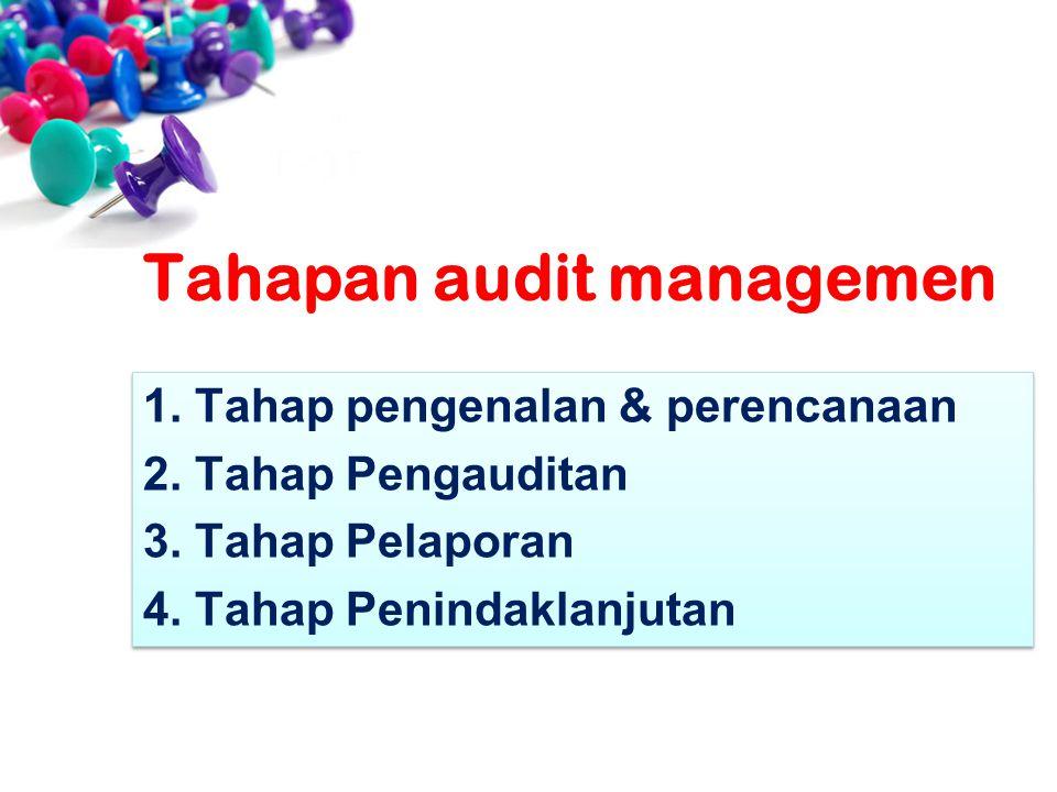1.Tahap pengenalan & perencanaan 2.Tahap Pengauditan 3.Tahap Pelaporan 4.Tahap Penindaklanjutan 1.Tahap pengenalan & perencanaan 2.Tahap Pengauditan 3