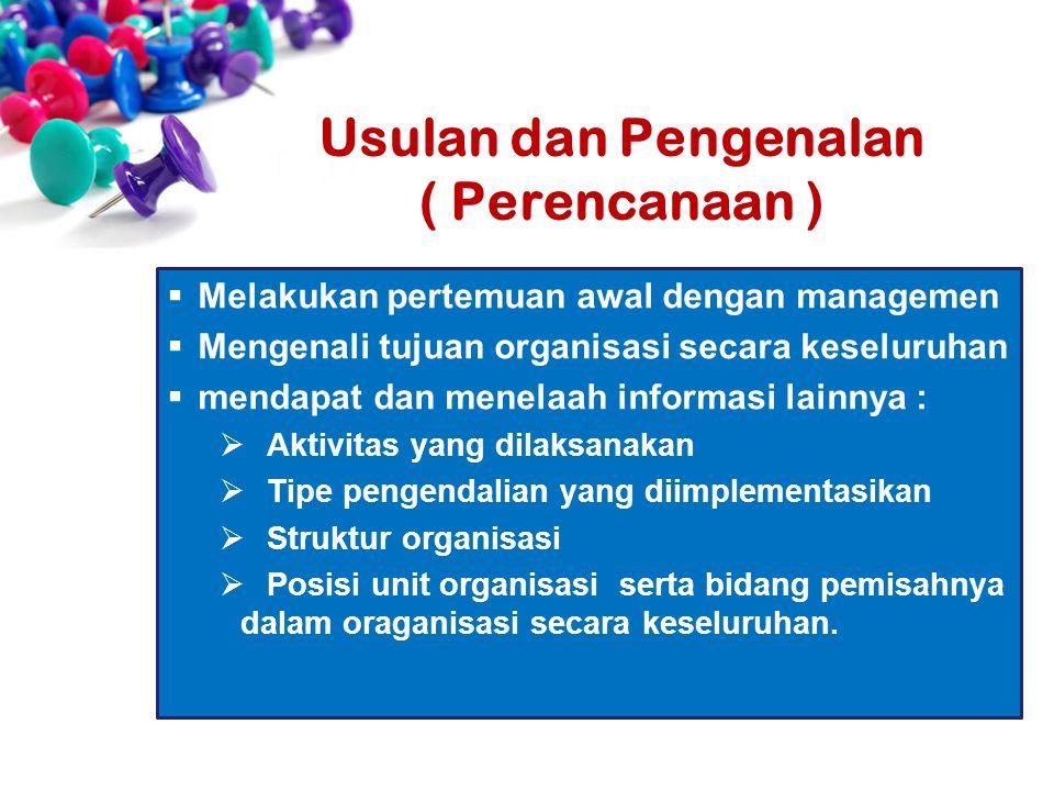  Melakukan pertemuan awal dengan managemen  Mengenali tujuan organisasi secara keseluruhan  mendapat dan menelaah informasi lainnya :  Aktivitas y