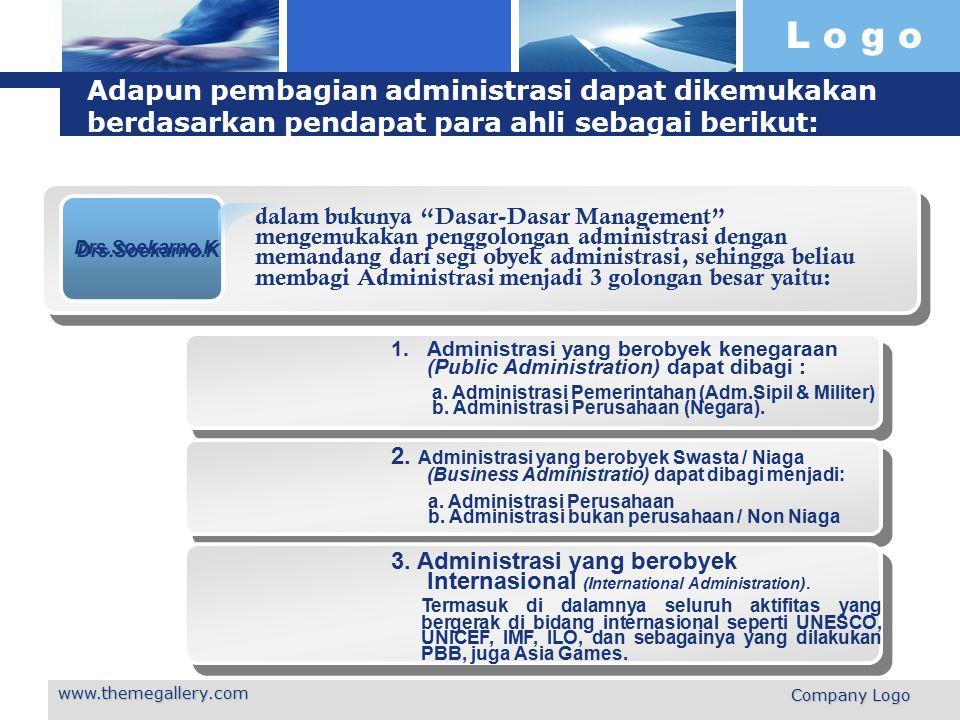 L o g o www.themegallery.com Company Logo Adapun pembagian administrasi dapat dikemukakan berdasarkan pendapat para ahli sebagai berikut: Drs.Soekarno