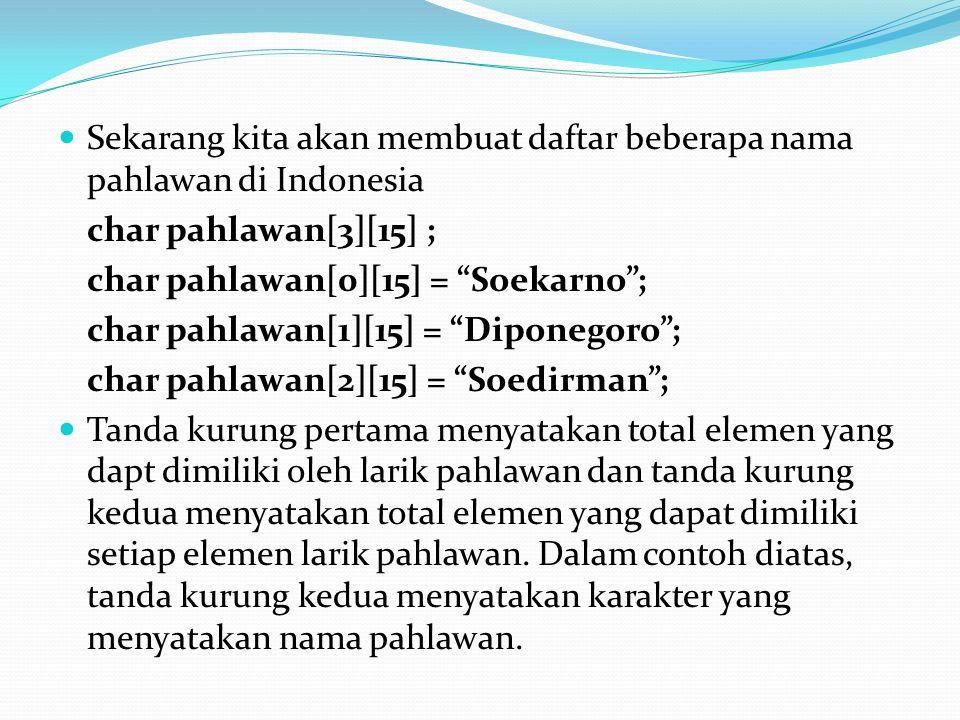"""Sekarang kita akan membuat daftar beberapa nama pahlawan di Indonesia char pahlawan[3][15] ; char pahlawan[0][15] = """"Soekarno""""; char pahlawan[1][15] ="""