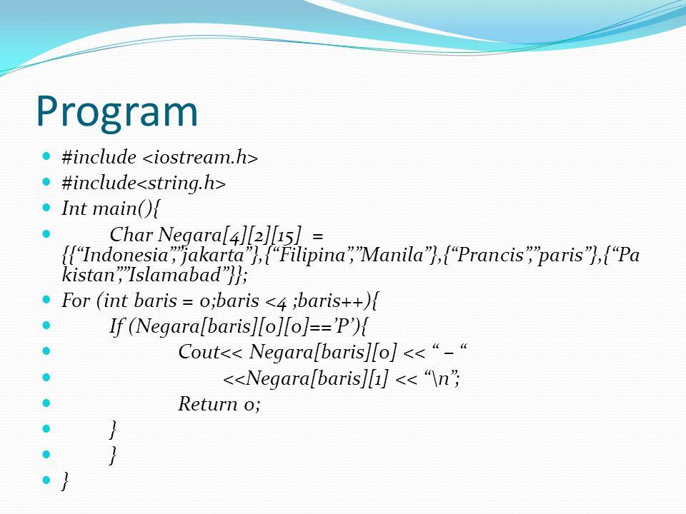 "Program #include Int main(){ Char Negara[4][2][15] = {{""Indonesia"",""jakarta""},{""Filipina"",""Manila""},{""Prancis"",""paris""},{""Pa kistan"",""Islamabad""}}; Fo"