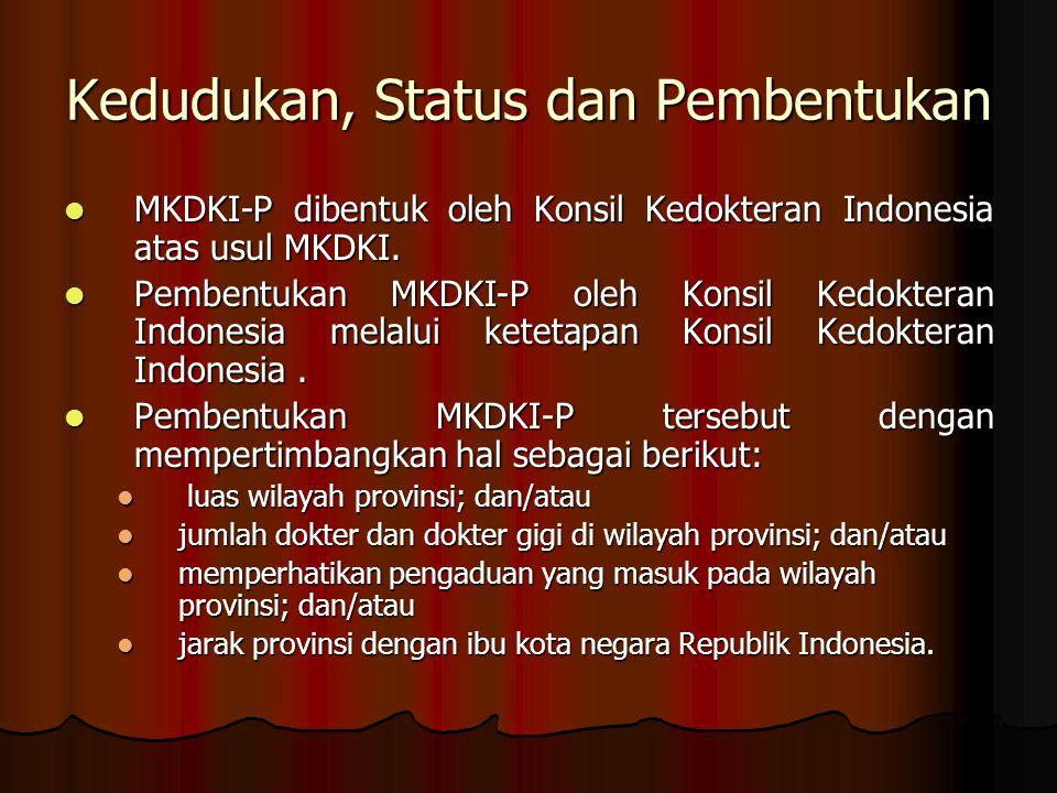 Kedudukan, Status dan Pembentukan MKDKI-P dibentuk oleh Konsil Kedokteran Indonesia atas usul MKDKI. MKDKI-P dibentuk oleh Konsil Kedokteran Indonesia