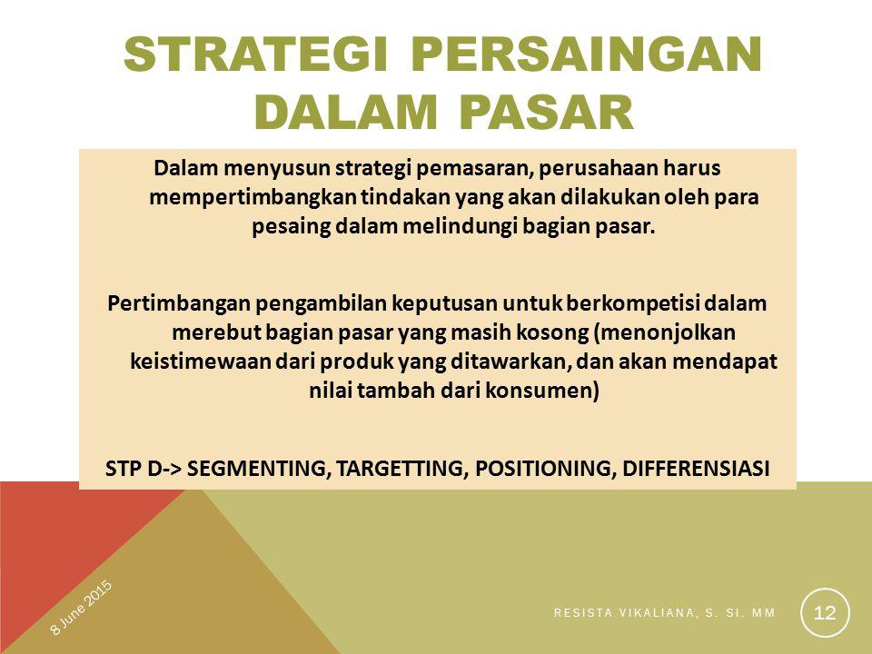 STRATEGI PERSAINGAN DALAM PASAR Dalam menyusun strategi pemasaran, perusahaan harus mempertimbangkan tindakan yang akan dilakukan oleh para pesaing da