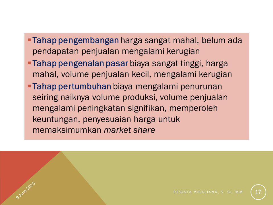  Tahap pengembangan harga sangat mahal, belum ada pendapatan penjualan mengalami kerugian  Tahap pengenalan pasar biaya sangat tinggi, harga mahal,