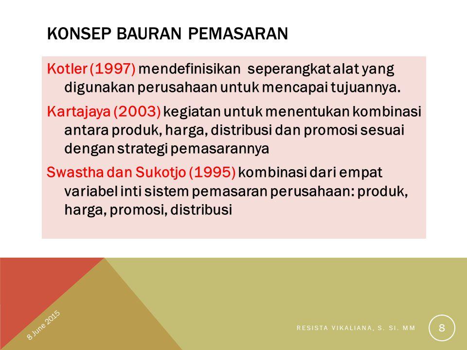 KONSEP BAURAN PEMASARAN Kotler (1997) mendefinisikan seperangkat alat yang digunakan perusahaan untuk mencapai tujuannya. Kartajaya (2003) kegiatan un