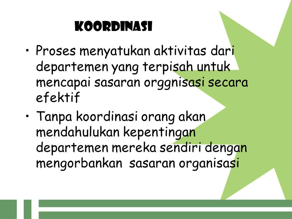 KOORDINASI Proses menyatukan aktivitas dari departemen yang terpisah untuk mencapai sasaran orggnisasi secara efektif Tanpa koordinasi orang akan mend