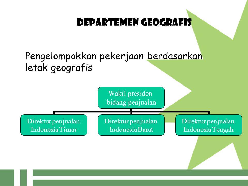 DEPARTEMEN GEOGRAFIS Wakil presiden bidang penjualan Direktur penjualan Indonesia Timur Direktur penjualan Indonesia Barat Direktur penjualan Indonesia Tengah Pengelompokkan pekerjaan berdasarkan letak geografis