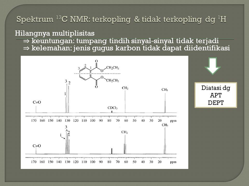 Hilangnya multiplisitas ⇒ keuntungan: tumpang tindih sinyal-sinyal tidak terjadi ⇒ kelemahan: jenis gugus karbon tidak dapat diidentifikasi Diatasi dg APT DEPT