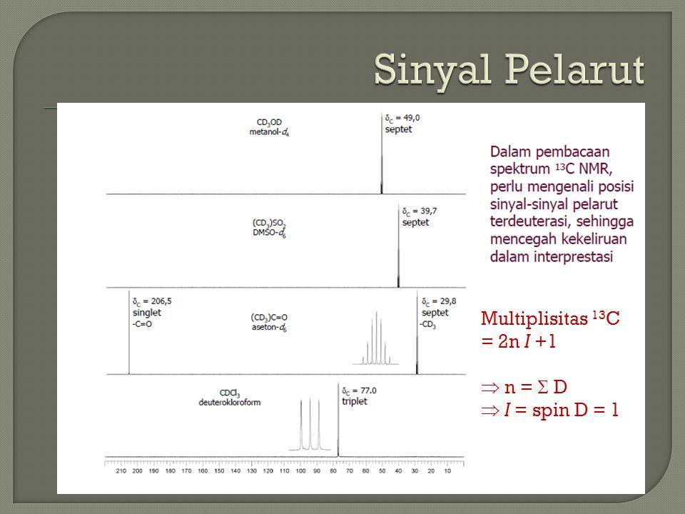 Multiplisitas 13 C = 2n I +1  n =  D  I = spin D = 1
