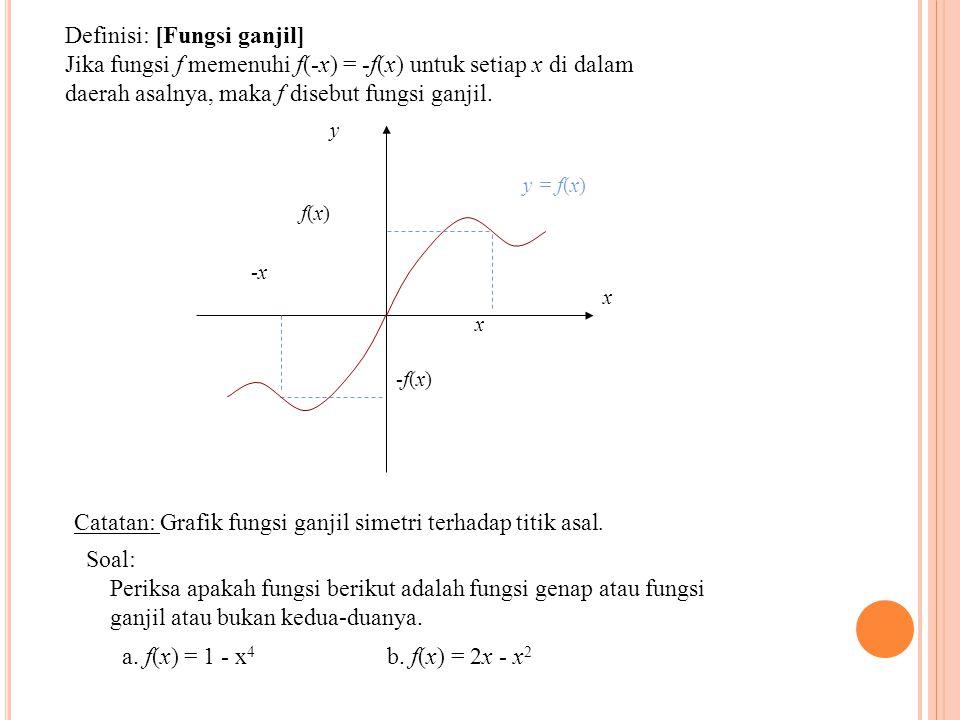 Definisi: [Fungsi ganjil] Jika fungsi f memenuhi f(-x) = -f(x) untuk setiap x di dalam daerah asalnya, maka f disebut fungsi ganjil. x y f(x)f(x) -x x