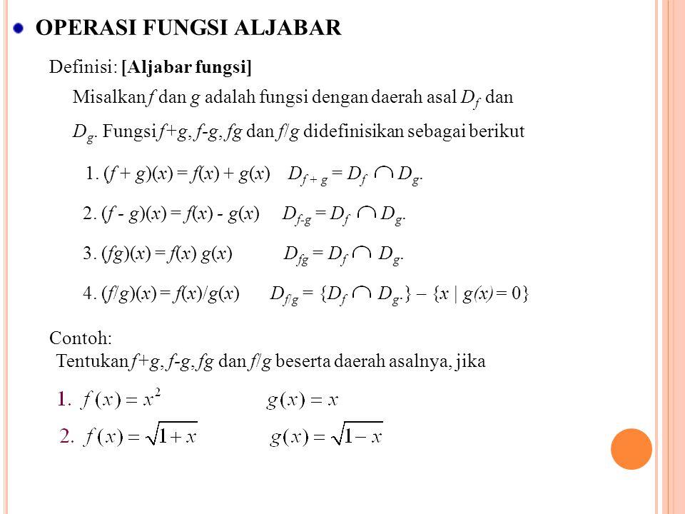 OPERASI FUNGSI ALJABAR Definisi: [Aljabar fungsi] Misalkan f dan g adalah fungsi dengan daerah asal D f dan D g. Fungsi f+g, f-g, fg dan f/g didefinis