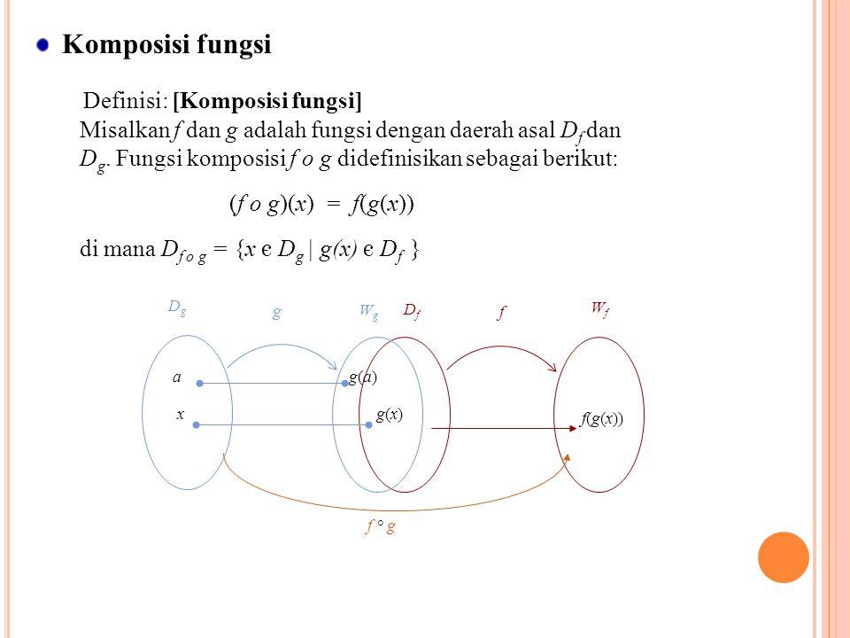 Komposisi fungsi Definisi: [Komposisi fungsi] Misalkan f dan g adalah fungsi dengan daerah asal D f dan D g. Fungsi komposisi f o g didefinisikan seba