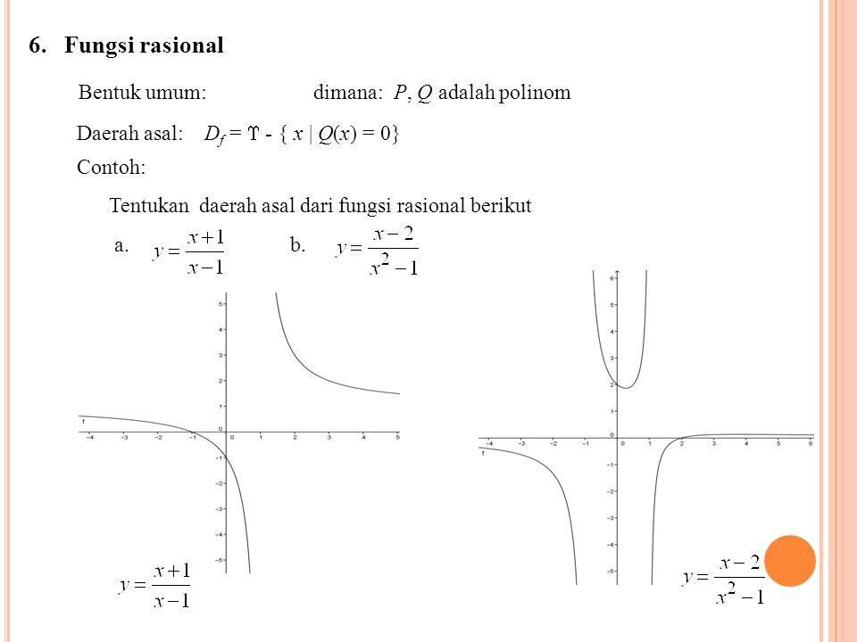 6. Fungsi rasional Bentuk umum: dimana: P, Q adalah polinom Daerah asal: D f =  - { x | Q(x) = 0} Contoh: Tentukan daerah asal dari fungsi rasional b