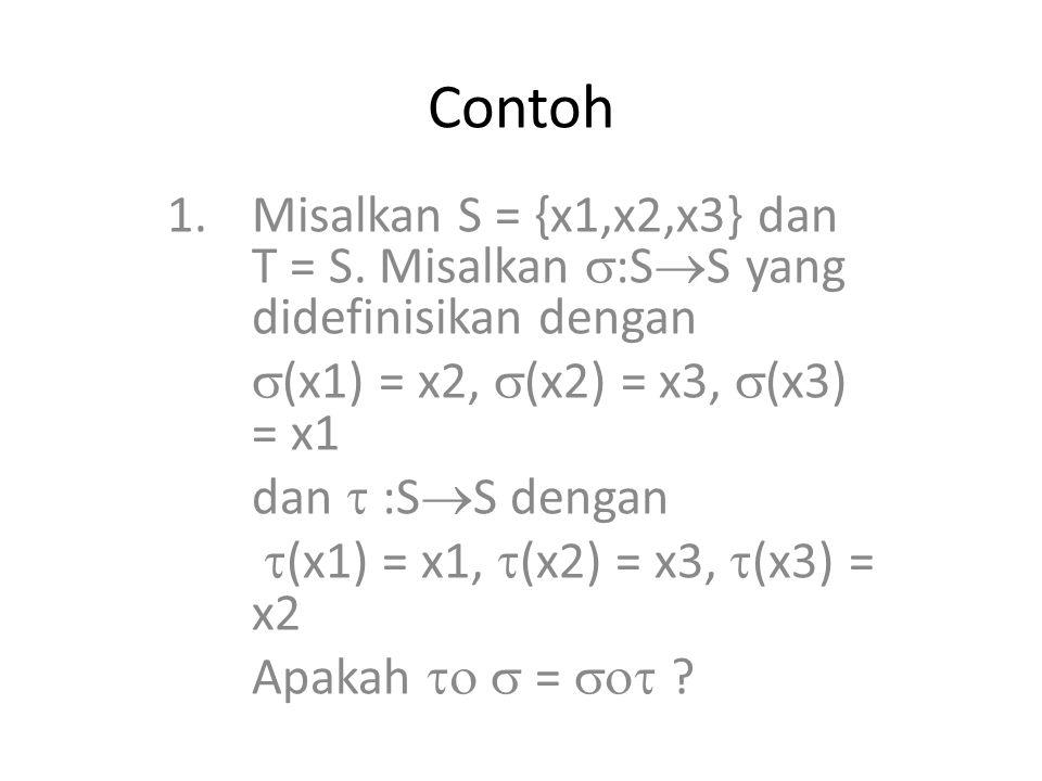 Contoh 1.Misalkan S = {x1,x2,x3} dan T = S. Misalkan  :S  S yang didefinisikan dengan  (x1) = x2,  (x2) = x3,  (x3) = x1 dan  :S  S dengan  (x