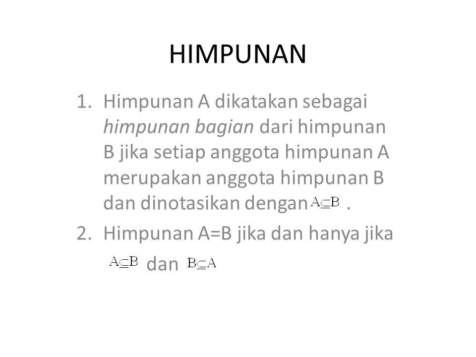 HIMPUNAN 1.Himpunan A dikatakan sebagai himpunan bagian dari himpunan B jika setiap anggota himpunan A merupakan anggota himpunan B dan dinotasikan de