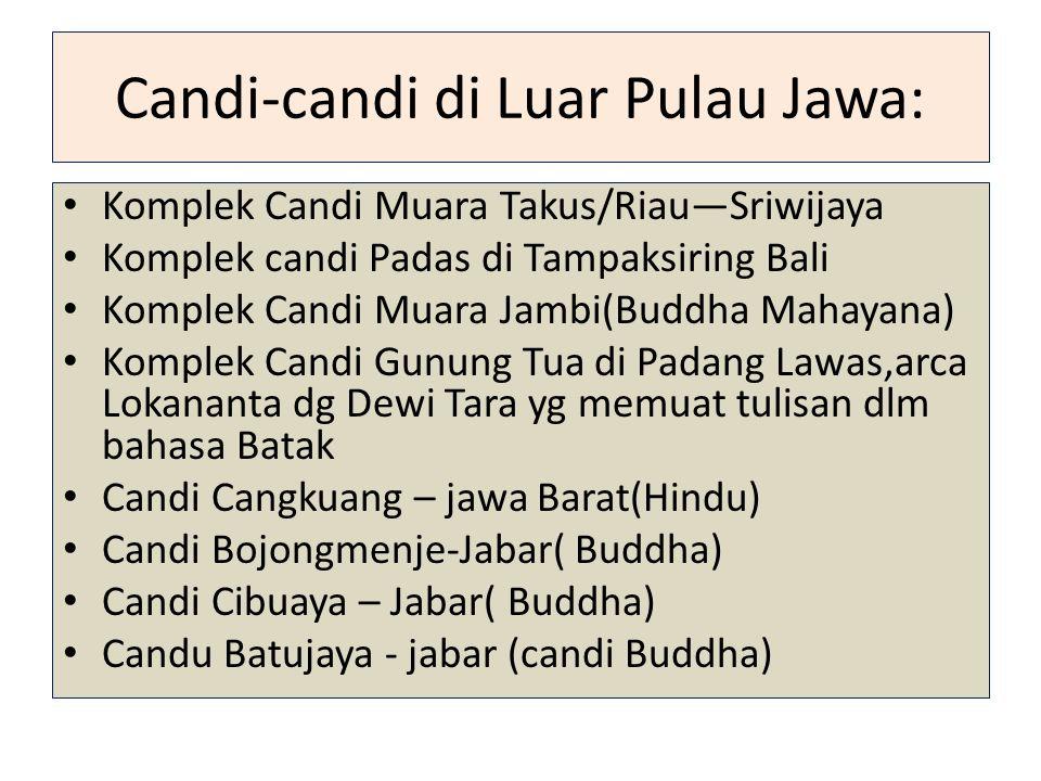 Candi-candi di Luar Pulau Jawa: Komplek Candi Muara Takus/Riau—Sriwijaya Komplek candi Padas di Tampaksiring Bali Komplek Candi Muara Jambi(Buddha Mah