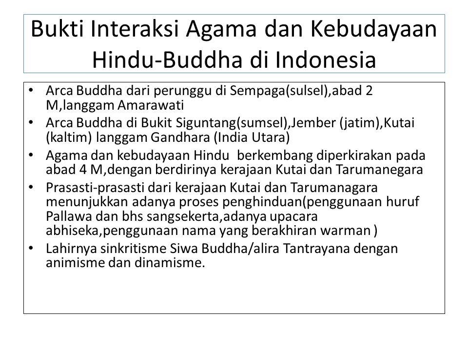 Perkembangan Tradisi Hindu-Buddha dalam bentuk akulturasi Budaya Seni Bangunan/Seni Arsitektur dan Tekhnologi Seni Ukir dan Seni Rupa Aksara dan Seni Sastra Sistem Pemerintahan Sistem Kalender Sistem Kepercayaan/praktek peribadatan Filsafat Sisttem Pendidikan