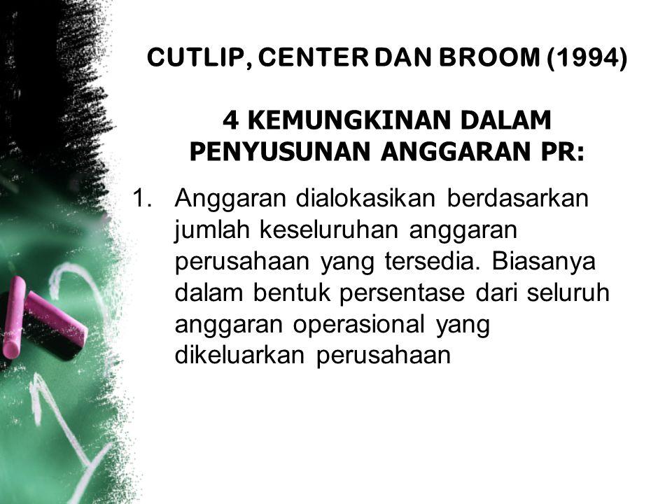 CUTLIP, CENTER DAN BROOM (1994) 4 KEMUNGKINAN DALAM PENYUSUNAN ANGGARAN PR: 1.Anggaran dialokasikan berdasarkan jumlah keseluruhan anggaran perusahaan