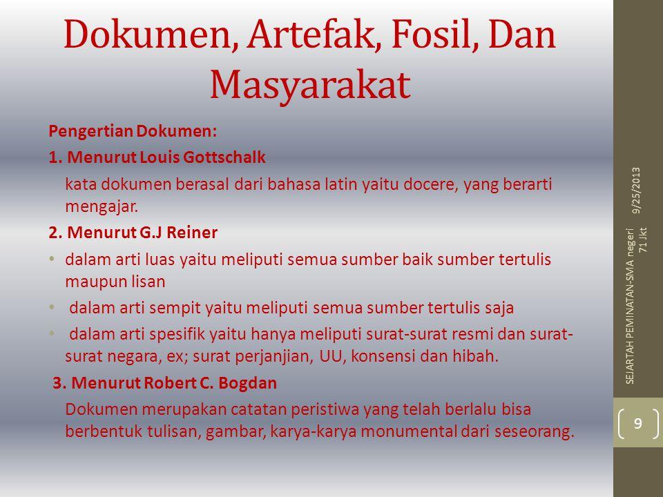 Dokumen, Artefak, Fosil, Dan Masyarakat Pengertian Dokumen: 1. Menurut Louis Gottschalk kata dokumen berasal dari bahasa latin yaitu docere, yang bera