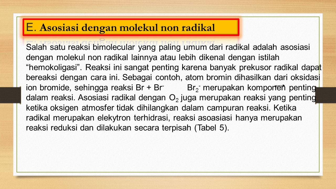 Salah satu reaksi bimolecular yang paling umum dari radikal adalah asosiasi dengan molekul non radikal lainnya atau lebih dikenal dengan istilah hemokoligasi .