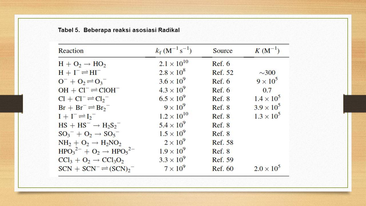 Tabel 5. Beberapa reaksi asosiasi Radikal