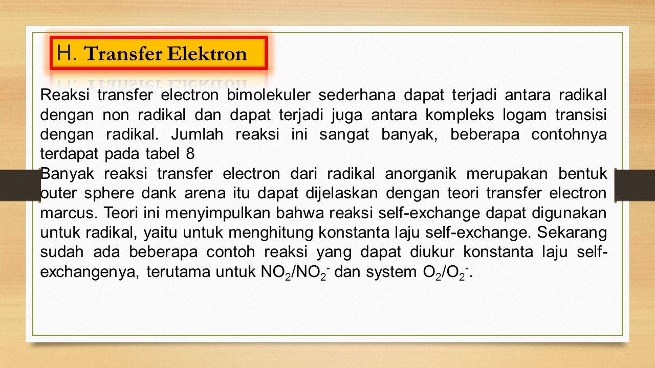 Reaksi transfer electron bimolekuler sederhana dapat terjadi antara radikal dengan non radikal dan dapat terjadi juga antara kompleks logam transisi dengan radikal.