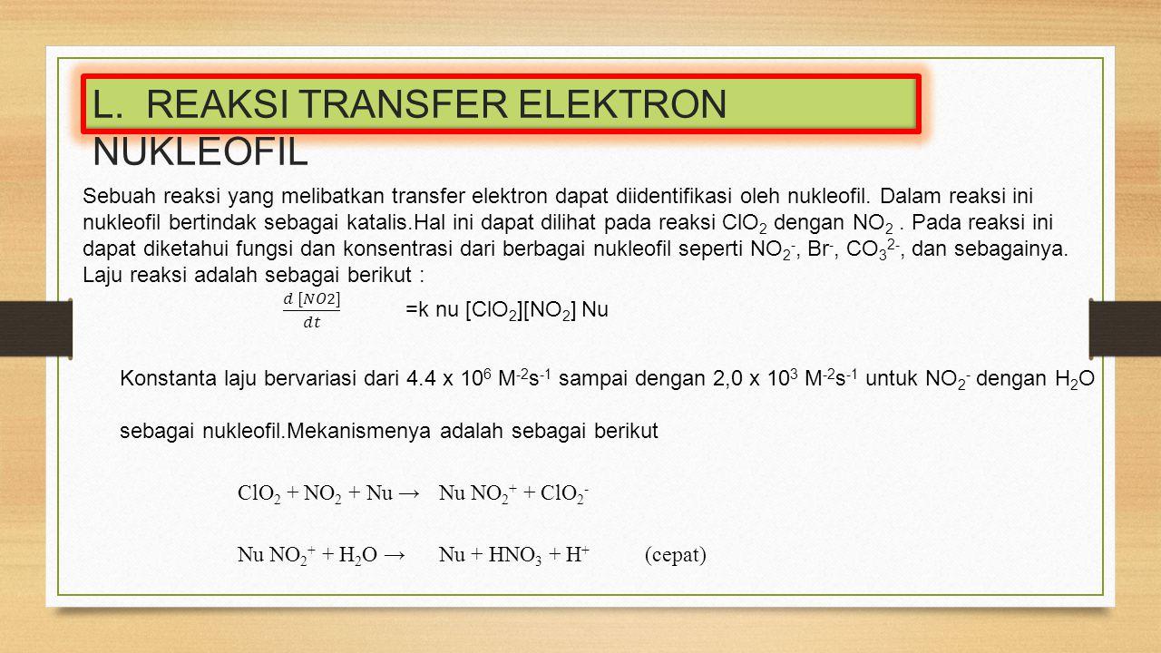 Sebuah reaksi yang melibatkan transfer elektron dapat diidentifikasi oleh nukleofil. Dalam reaksi ini nukleofil bertindak sebagai katalis.Hal ini dapa