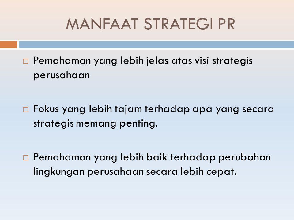 9 LANGKAH STRATEGI PR menurut Smith (2005) Tahap satu : Penelitian Formatif (Awal) Langkah 1 : Analisis Keadaan Langkah 2 : Analisis Organisasi Langkah 3 : Analisis Publik Tahap Dua : Strategi Langkah 4 : Perumusan sasaran dan tujuan Langkah 5 : Formulasi strategi tindakan dan tanggapan Langkah 6 : Pemanfaatan komunikasi efektif