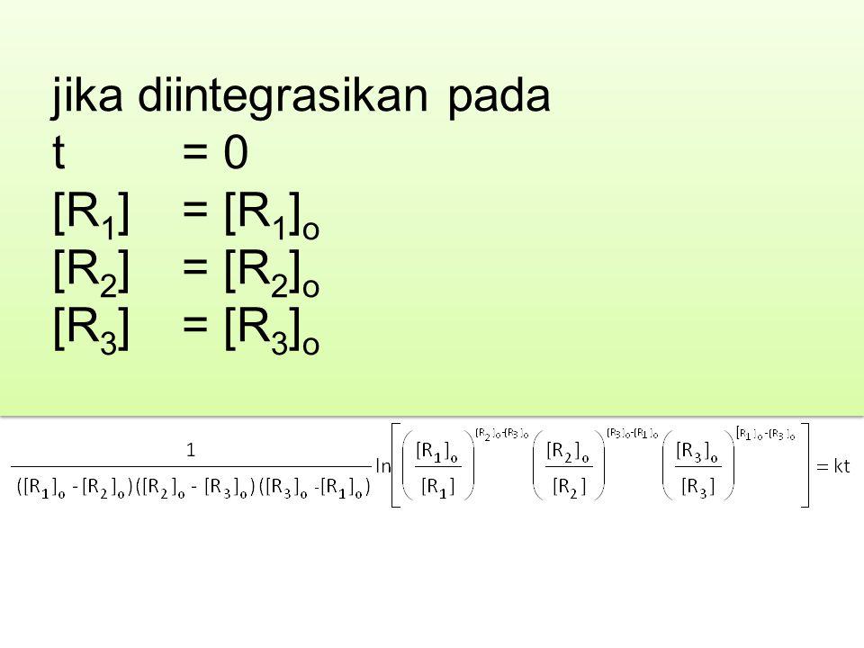 jika diintegrasikan pada t = 0 [R 1 ] = [R 1 ] o [R 2 ] = [R 2 ] o [R 3 ] = [R 3 ] o jika diintegrasikan pada t = 0 [R 1 ] = [R 1 ] o [R 2 ] = [R 2 ]