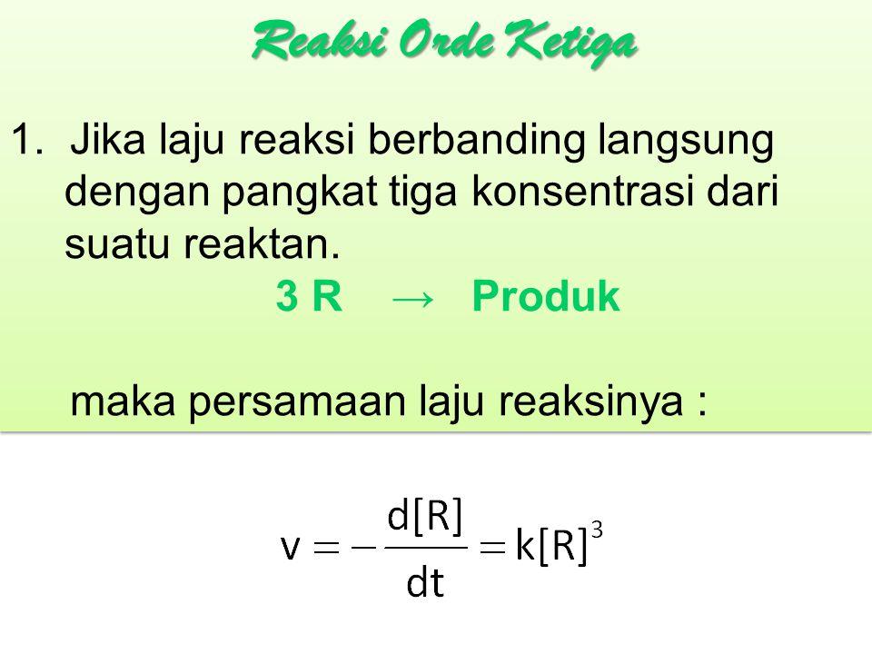 1. Jika laju reaksi berbanding langsung dengan pangkat tiga konsentrasi dari suatu reaktan. 3 R → Produk maka persamaan laju reaksinya : 1. Jika laju