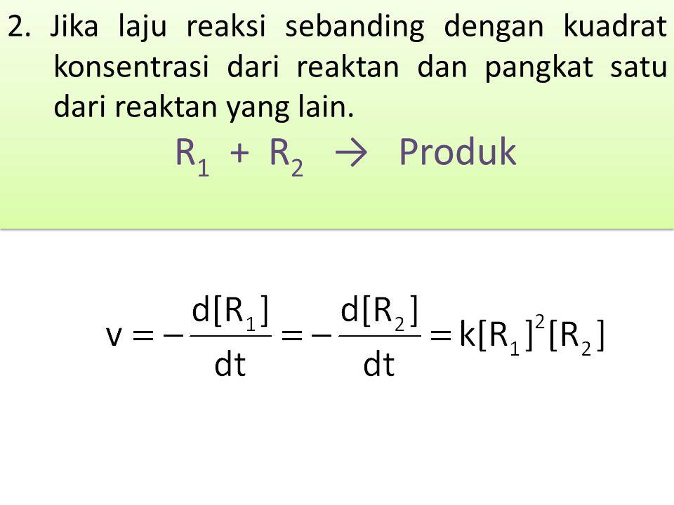 2. Jika laju reaksi sebanding dengan kuadrat konsentrasi dari reaktan dan pangkat satu dari reaktan yang lain. R 1 + R 2 → Produk 2. Jika laju reaksi