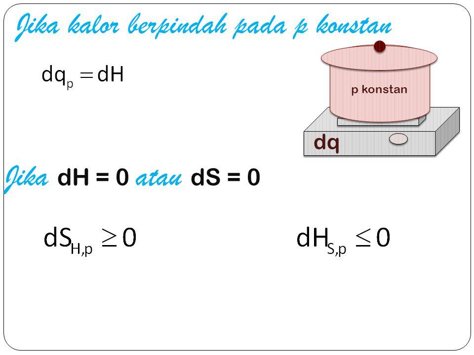 Jika kalor berpindah pada p konstan Jika dH = 0 atau dS = 0 p konstan dq