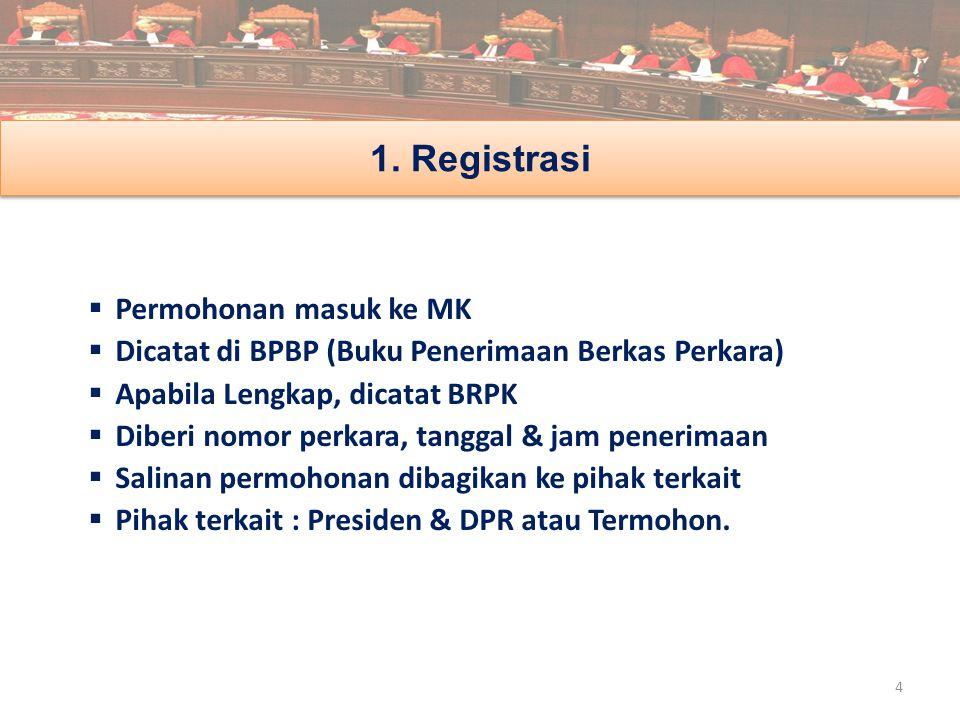  Permohonan masuk ke MK  Dicatat di BPBP (Buku Penerimaan Berkas Perkara)  Apabila Lengkap, dicatat BRPK  Diberi nomor perkara, tanggal & jam pene
