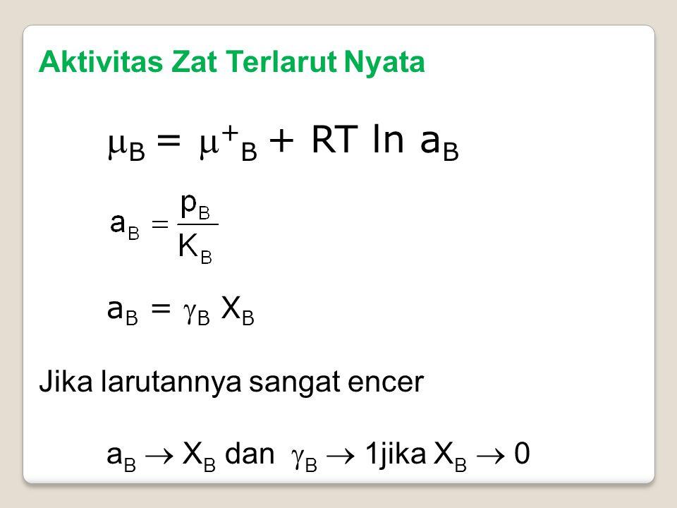 Aktivitas Zat Terlarut Nyata  B =  + B + RT ln a B a B =  B X B Jika larutannya sangat encer a B  X B dan  B  1jika X B  0