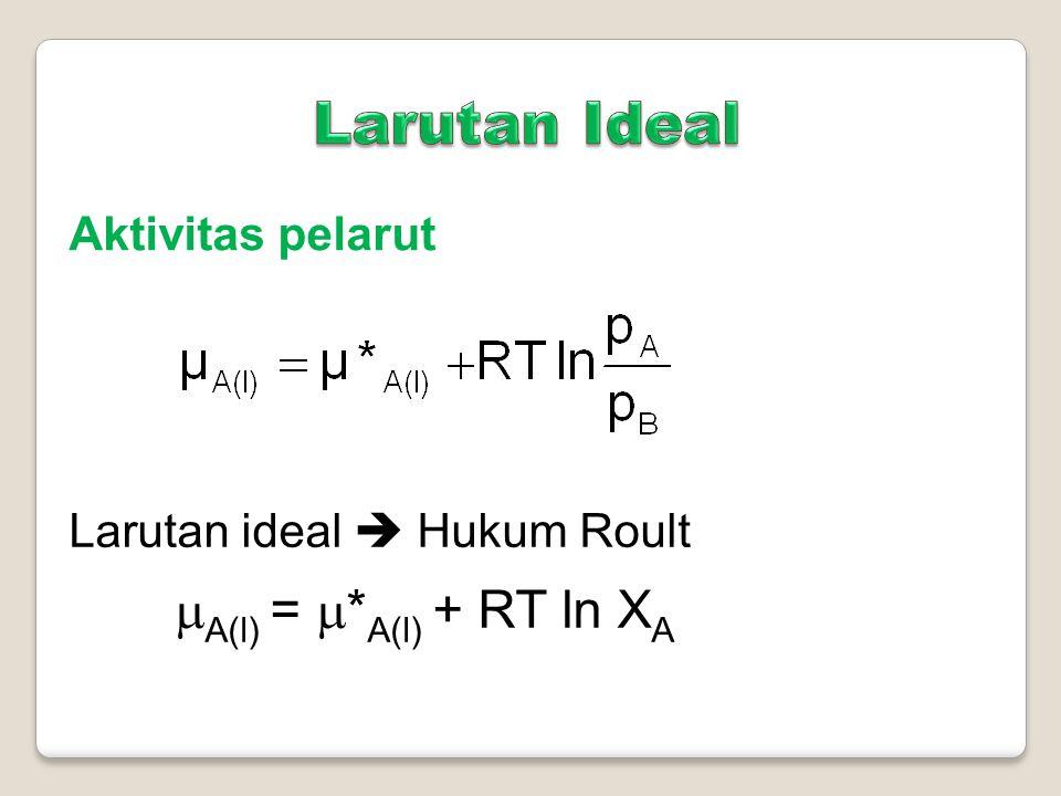 Larutan yg tidak memenuhi Hukum Roult  A(l) = * A(l) + RT ln a A a A = aktivitas ion zat A atau fraksi mol efektif zat A
