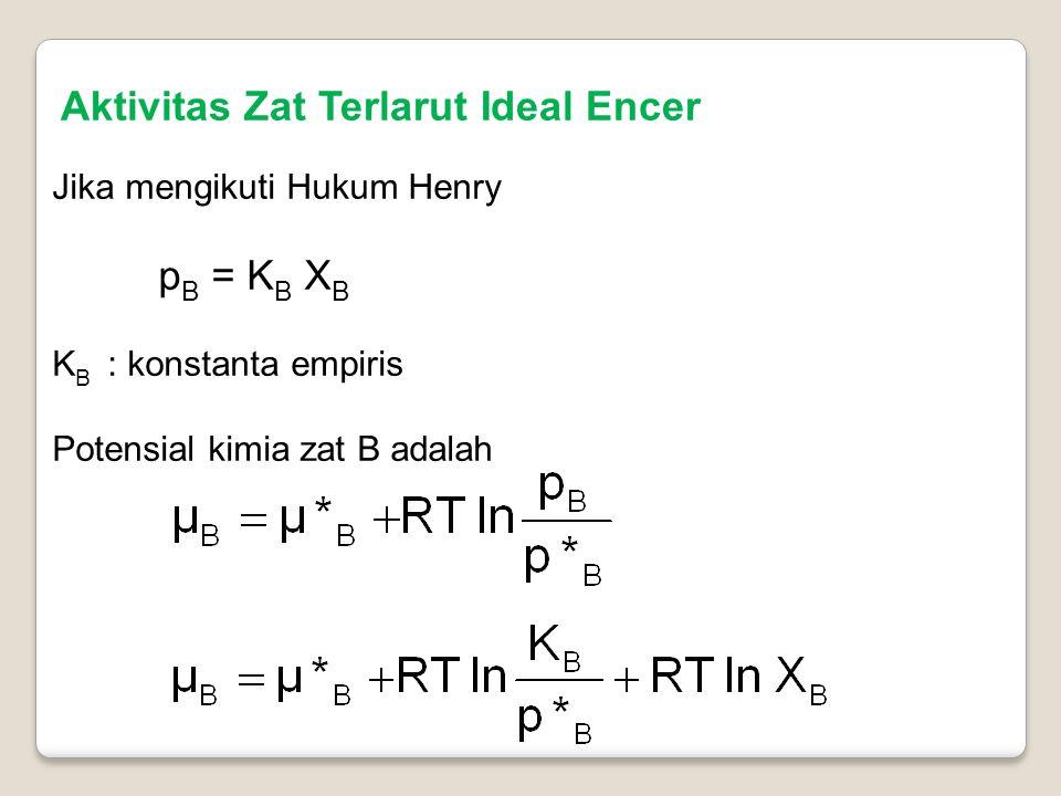Aktivitas Zat Terlarut Ideal Encer Jika mengikuti Hukum Henry p B = K B X B K B : konstanta empiris Potensial kimia zat B adalah