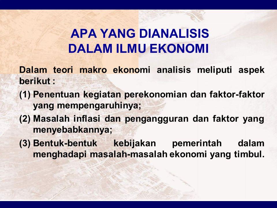APA YANG DIANALISIS DALAM ILMU EKONOMI Dalam teori makro ekonomi analisis meliputi aspek berikut : (1)Penentuan kegiatan perekonomian dan faktor-fakto