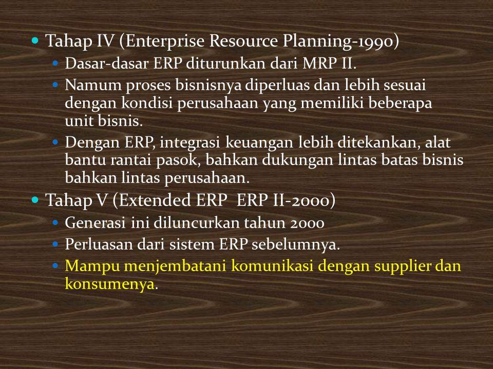 Tahap IV (Enterprise Resource Planning-1990) Dasar-dasar ERP diturunkan dari MRP II.
