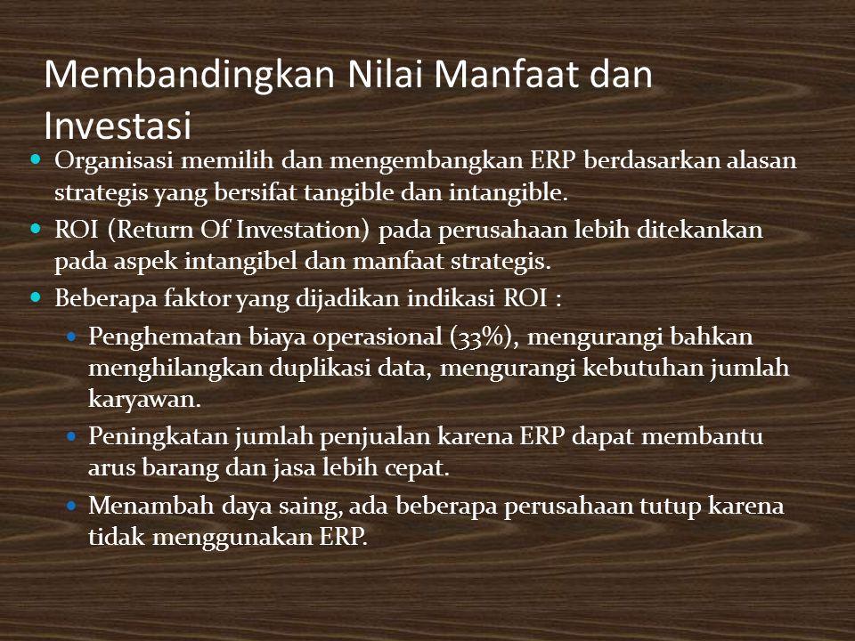Membandingkan Nilai Manfaat dan Investasi Organisasi memilih dan mengembangkan ERP berdasarkan alasan strategis yang bersifat tangible dan intangible.